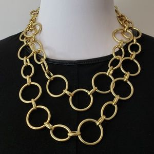 J. Crew Statement Necklace Open Link Gold Tone